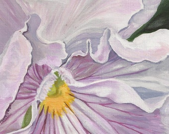 """5x7 Hand Mounted Hand Signed Art Card- """"Lilac Ruffles"""""""
