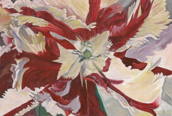 """Notecard - Red Flower Tulip Print - """"Parrot En-Flamed"""""""