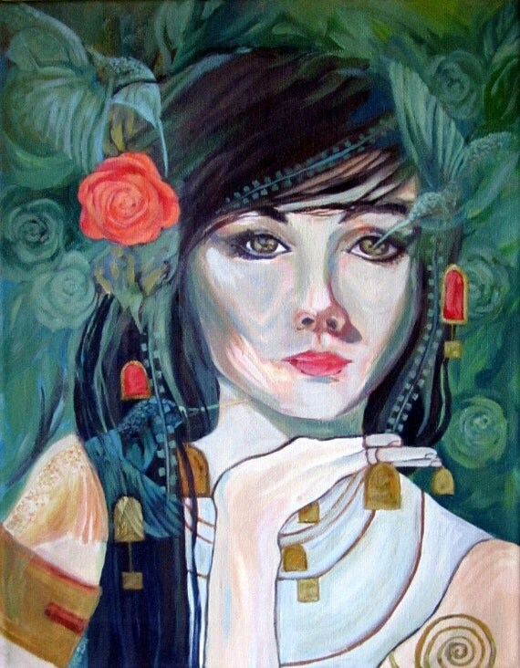 """Notecard-""""Infinite Spring""""Print of Woman from Acrylic Painting - Notecard"""