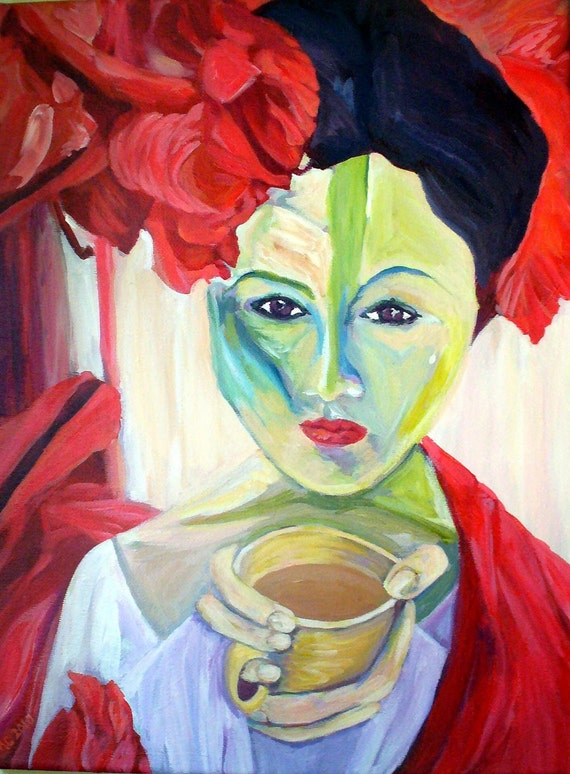 """5x7 Hand Mounted Hand Signed Art Card- """"Coffee in the Garden"""""""""""