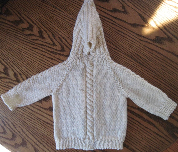 Knitting Pattern Baby Sweater Zipper Up Back : Hand Knit Hooded Sweater Zip Up The Back Hoodie Sizes 0 6