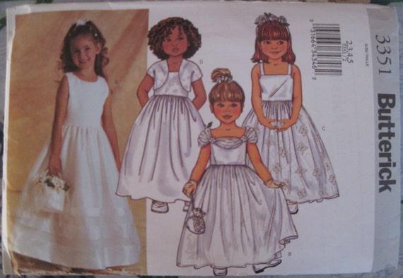 Butterick 3351Sewing Pattern Uncut Girls Party Dress Flower Girl Dress Sizes 2,3,4,5