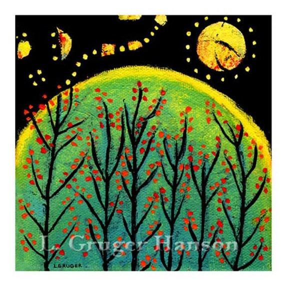 The Night Was Like Jeweled Magic - Jeweled Sky Print, Trees