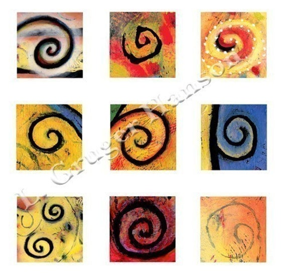 Colorful Spiral Shapes, Symbols Digital Collage Sheet, 42 1x1 inch Fine Art Print images, Download and Print