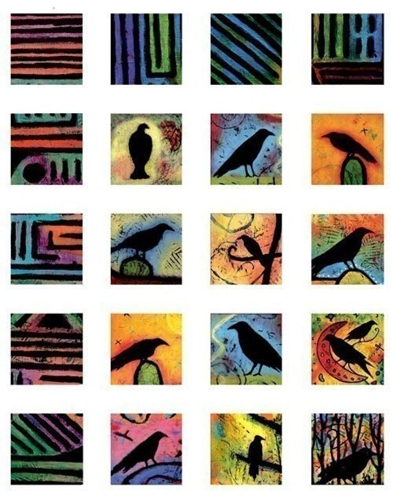 Colorful Blackbirds and Borders Digital Collage Sheet, 42 1x1 inch Fine Art Print images, Download and Print