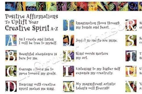 Positive Affirmations Digital Collage Sheet, Fine Art Print images, Jpg Download