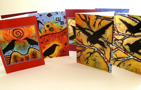 On Sale - Raven Note Card Set - 7 different designs - 4.5 x 6.25