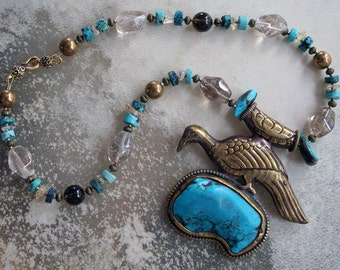 BIRD OF PARADISE Necklace (Nepalese brass, Turquoise, Citrine, Quartz)