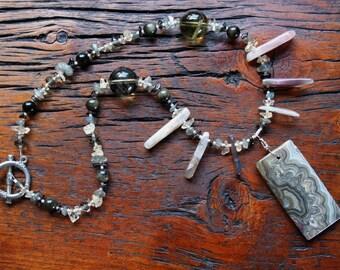 PRIMAL PULSE Necklace (Agate, Obsidian, Smoky Quartz, Labradorite, Lemon Quartz, Citrine)