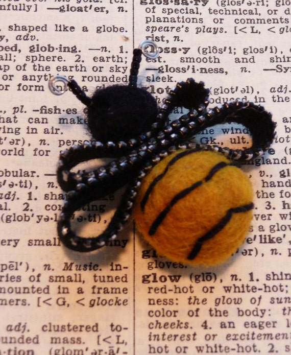 Recycled Zipper Bee Brooch