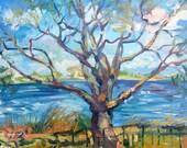 Spring in Baldwin Park, original oil on canvas