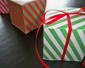 Candy Cane Striped Square Favor Boxes