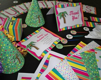Printable Palm Tree Party Supplies - Premium Package