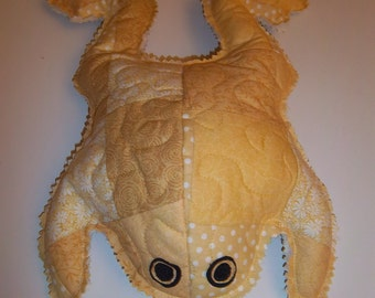 Quilted Yellow Stuffed Frog
