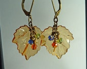 Free Shipping - Crystal and Amber Maple Leaf Earrings - E1160