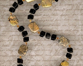 Picture Jasper and Onyx Necklace     -     N821
