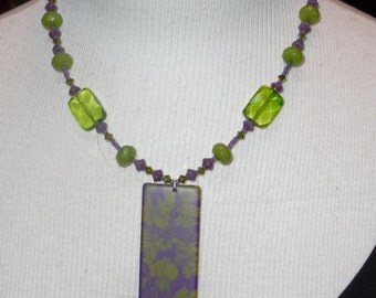 Green and Purple  Necklace   -     N1047