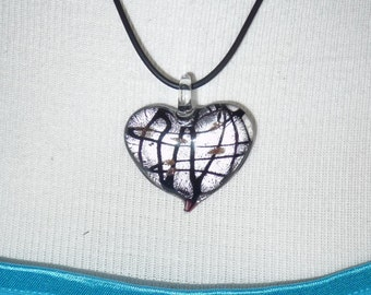 Dichroic Glass Heart Necklace     -     N1079