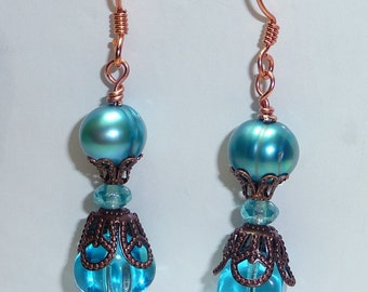Turquoise Freshwater Pearls Earrings - E1258