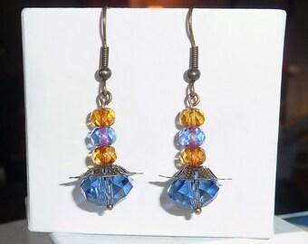 Blue and Amber Earrings - E1285