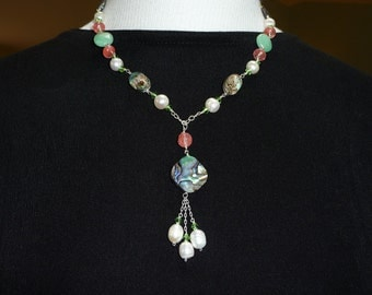 Abalone, Pearl and Stone Necklace - E1369