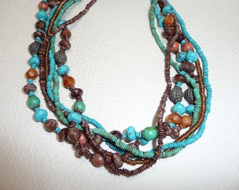 Six Strands Turquoise and Brown Necklace - N1405