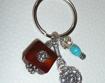 Turquoise, Crystal and Silver Key Chain - K1456