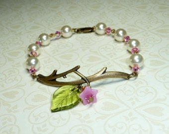 FREE SHIPPING - Pink Branch Garden Bracelets     -     B1059