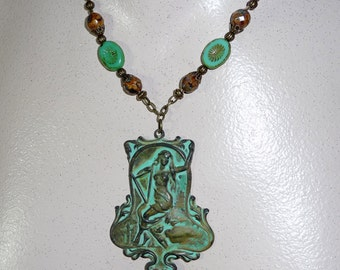 Green Patina Girl On Swing Necklace - N1497