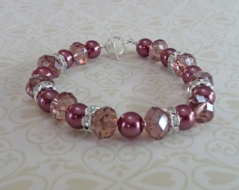 Rose Pearls and Crystal Bracelet - B1512