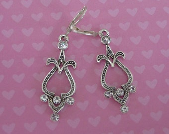 Silver and Rhinestone Earrings - E1509