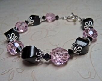 Pink Crystal and Black Onyx Bracelet - B1537