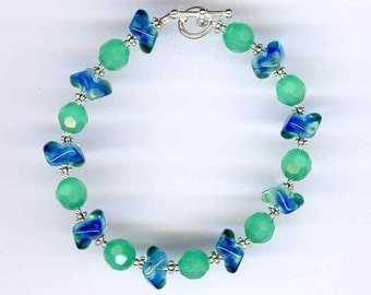Light Green and Blue Bracelet     -     B732