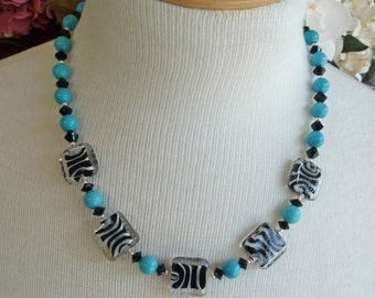 Zebra and Turquoise Necklace     -     N822