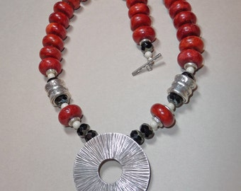 Red Sponge Coral and Silver Necklace     -     N829