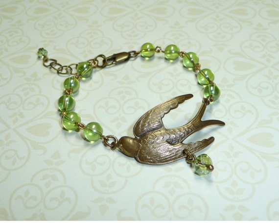 Free Shipping - Green Beads and Swallow Bracelet - B1180