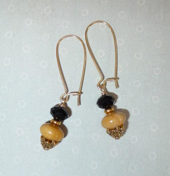 Yellow Jasper and Black Earrings - B1516