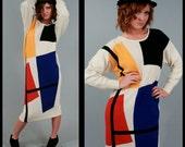 Vintage Avant Garde Color Block Graphic Angora Sweater Dress (S - M)