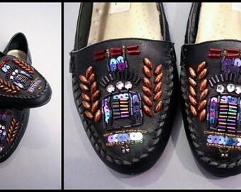 Vintage 80s Royal Beaded Crest Loafer Flats (US 6.5)