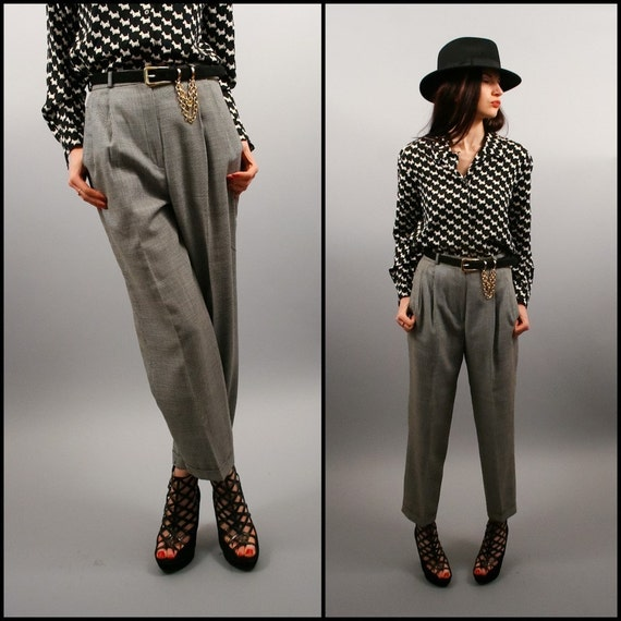 Vintage Navy Blue/Black Tiny Houndstooth High Waist Trousers (S - M)