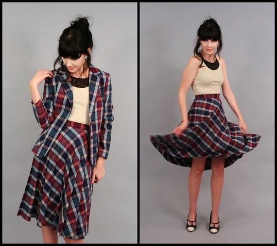 Vintage 70s Autumn Wool Plaid Blazer Jacket & High Waist Skirt Set (XS)