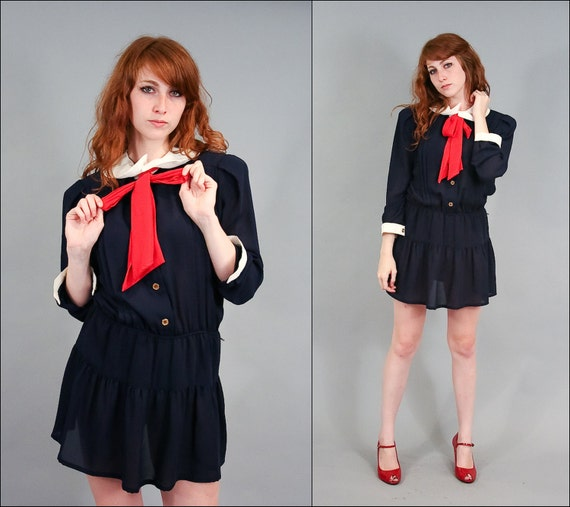 Vintage Sailor Secretary Blouson Mini dress (M - L)