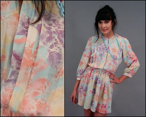 SALE Vintage Pastel Floral Secretary Pleated Blouse Mini Dress (XS - S)