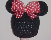 Adorable Minnie Mouse Girls Crochet Beanie With Bow Perfect For Photos Or Disney VacationFREE SHIPPING
