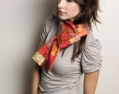 Orange batik patchwork scarf 50% off with coupon code 50off at checkout