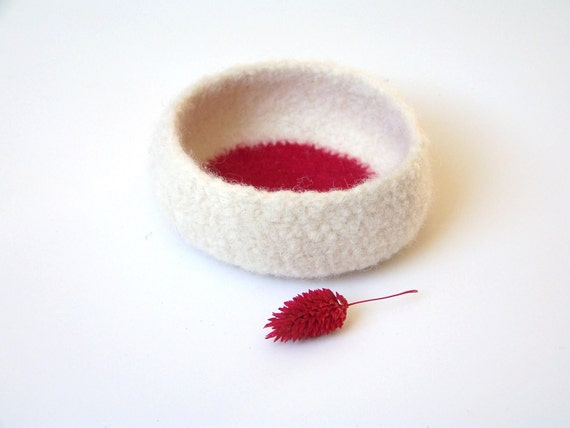 Felted bowl - red and creamy white