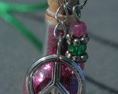 Potion Bottle Pendant - Peace Pink and Green
