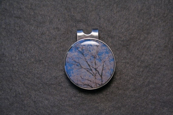 Frosted Tree Round Metal Golf Ball Marker Hat Clip