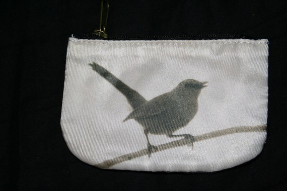Zippered Coin Purse Perched Sparrow Photo