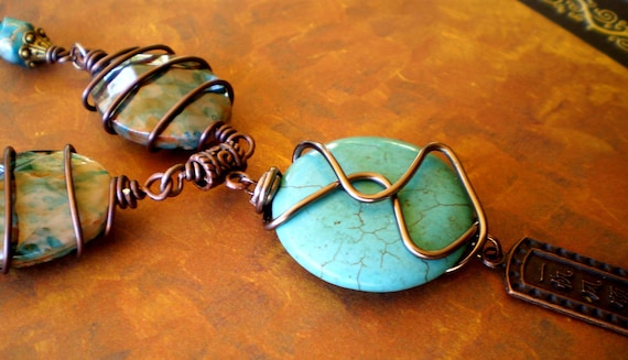 Desert Nomad a Turquoise, Copper and Antiqued Brass Necklace
